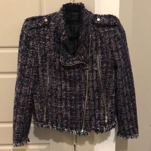 Zara Tweed Biker Jacket M Like New